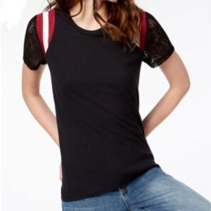 NWT Rebellious One Junior' Lace-Sleeved Tee